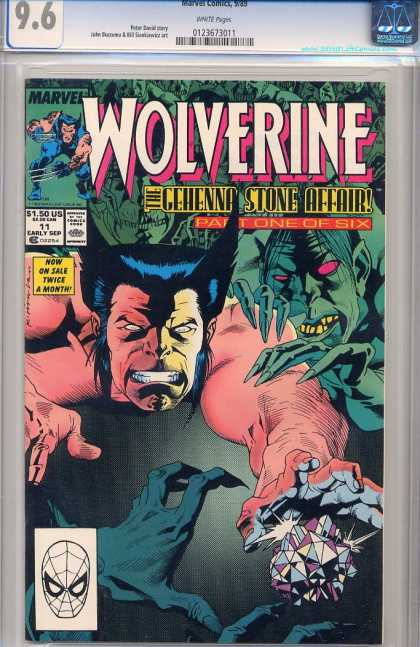 Wolverine 11 - The Gehenna Stone Affair - Part One Of Six - Crystals - Grren Skin Monsters - Marvel - Kevin Nowlan