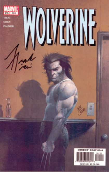 Wolverine 181 - Claws - Orange Wall - Brown Paneling - Bottle - Door Frame - Esad Ribic