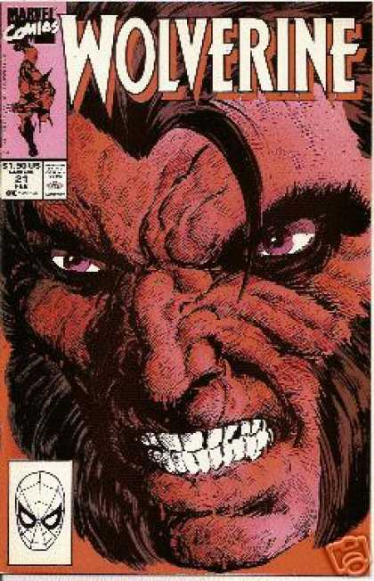 Wolverine 21 - Marvel Comics - Blue Eyes - Spider Man - Beard - Teeth - John Byrne