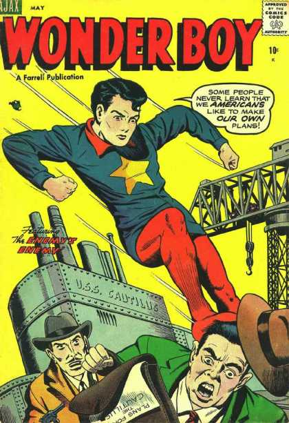 Wonder Boy 17 - Super Hero - Boy On Front With Star On Chest - Two Men On Bottom Being Kicked By Boy - Ship In Back Ground - Enemys Enemy