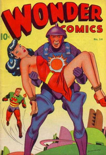 Wonder Comics 14 - Red Dress - Dumb Look - Blue Overalls - Red Tights - Future