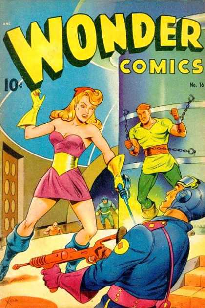 Wonder Comics 16 - Yeloow Glove - Shakle - Blue Suit - Pink Dress - Green Pants