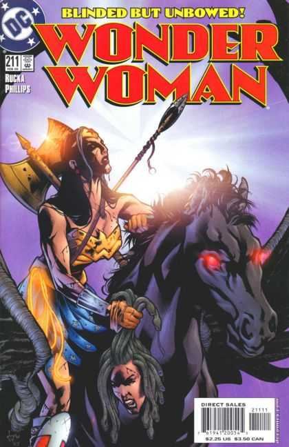 Wonder Woman (1987) 211 - Blinded But Unbowed - Rucka Phillips - Spear - Axe - Horse