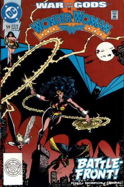 Wonder Woman (1987) 59 - War - Gods - City - Flying - Rope - George Perez