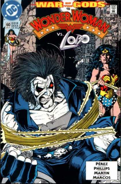 Wonder Woman (1987) 60 - Lobo - Lasso - Gun - Red Eyes - Stars - George Perez