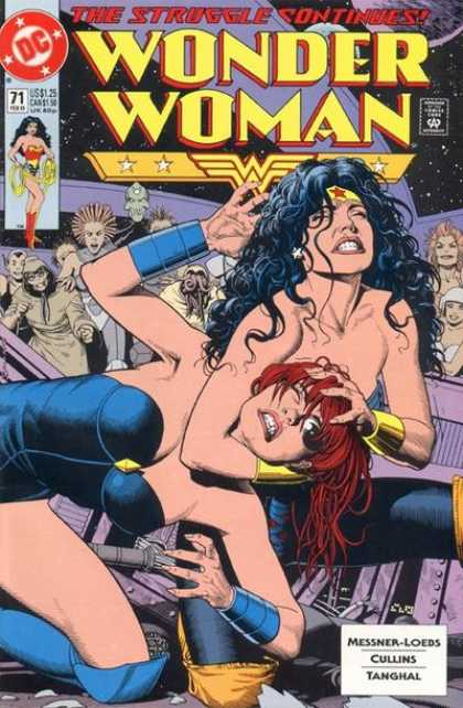 Wonder Woman (1987) 71 - Yellow Headband - Blue Wristband - Red-headed Villian - Costume - Grimace - Brian Bolland