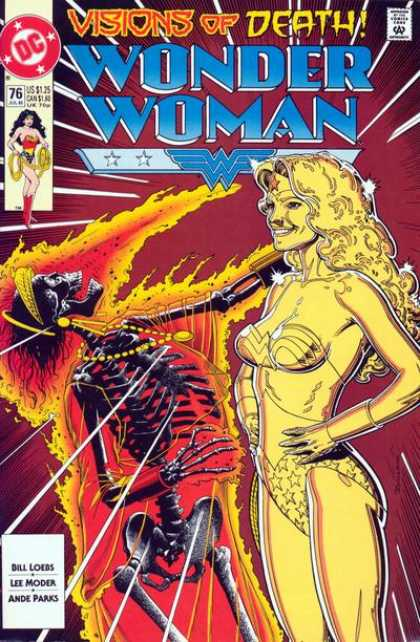 Wonder Woman (1987) 76 - Visions Of Death - Skeleton - Gold Statue - Bill Loebs - Lee Moder - Brian Bolland