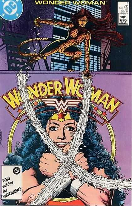 Wonder Woman (1987) 9 - Woman Dressed As Leopard - Smiling Wonderwoman - Flashing Bracelets - Dc Comics - George Perez