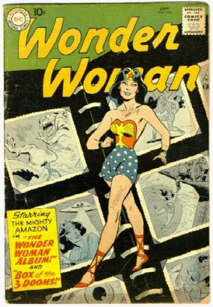 Wonder Woman 103 - The Mighty Amazon - Box Of 3 Dooms - Pictures Behind Wonder Woman - 10 Cent Magazine - Monsters In Back Ground - Ross Andru