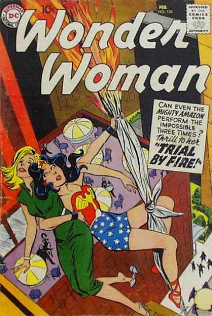 Wonder Woman 104 - Wonder Woman - Mighty Amazon - Trial By Fire - Rope - Chairs - Ross Andru