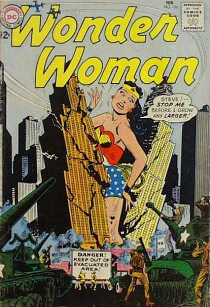Wonder Woman 136 - Army - War - City - Giant - Grow - Ross Andru