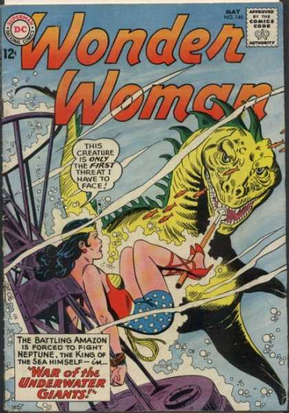 Wonder Woman 146 - This Creature Is Only The First Threat I Have To Face - Attacked - War Of The Underwater Giant - The King Of Sea Himself - The Battling Amazon Is Forced To Fight Naptune - Ross Andru