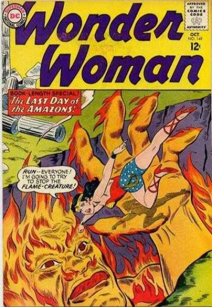 Wonder Woman 149 - Fire - Hand - Log - Dialouge - Shoes - Ross Andru