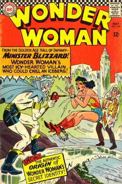 Wonder Woman 162 - Superman - National Comics - Minister Blizzard - The Authentic Origin Of Wonder Womans Secret Identity - From The Golden Age Hall Of Infamy - Ross Andru