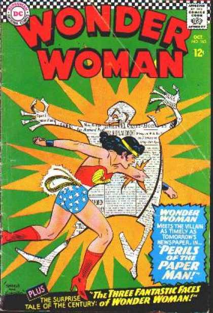 Wonder Woman 165 - Superman - Approved By The Comics Code - Plus - Surprise Tale Of The Century - Paper Man - Ross Andru