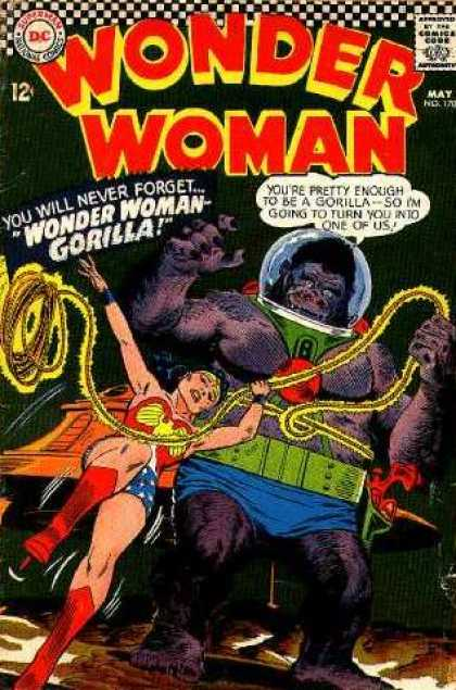 Wonder Woman 170 - Gorilla - Pretty - Bubble Helmet - Red Boots - Hot Pants - Ross Andru