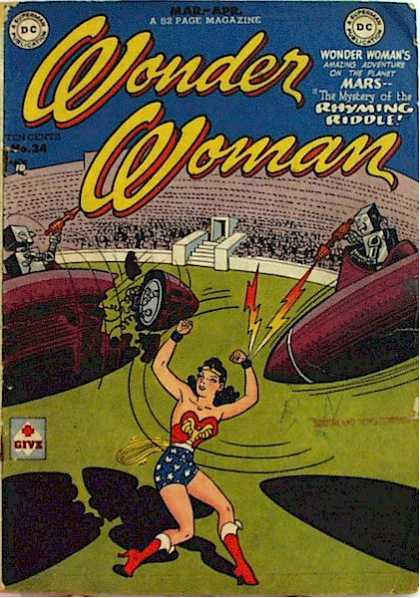Wonder Woman 34 - Dc Comics - Amazing Adventure On The Plant Mars - Mystery Of The Rhyming Riddle - Bombs - Robots