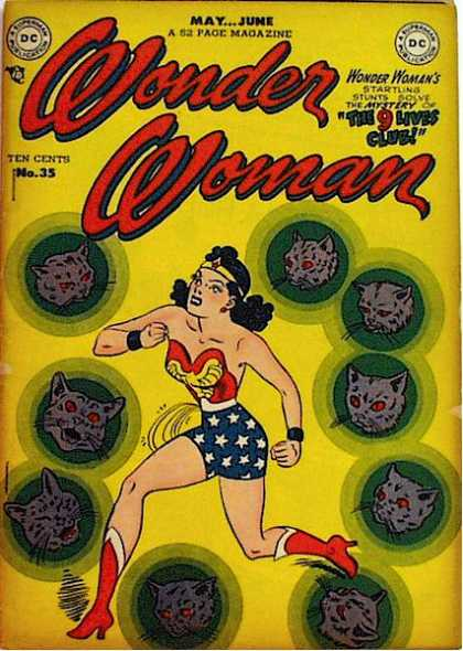 Wonder Woman 35 - Cats 9 - The 9 Lives Club - Red Eyes - Green Circles - Gray Cats