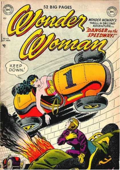 Wonder Woman 42 - Dc Comics - Danger On The Speedway - Race Car - Fire - Goggles