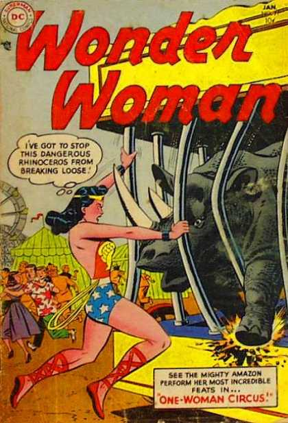 Wonder Woman 71 - Rhino - Circus - Animal Cage - Breaking Loose - Running Away
