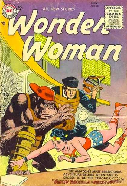Wonder Woman 78 - Gorilla - Umpire - Home Plate - Stadium - Slide