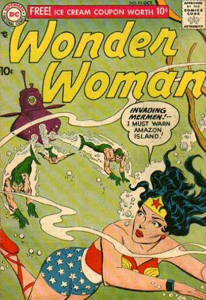 Wonder Woman 93 - Dc - Superman - National Comics - Approved By The Comics Code Authority - Water