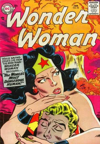 Wonder Woman 95 - Black Hair - Star Tiara - Wide-eyed - Bomb Explosion - Injured Man - Ross Andru