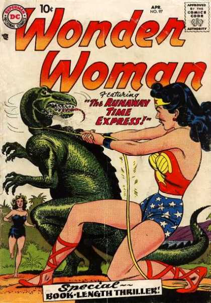 Wonder Woman 97 - The Runaway Time Express - Green Dinosaur - Lasso - Cave Woman - Jungle