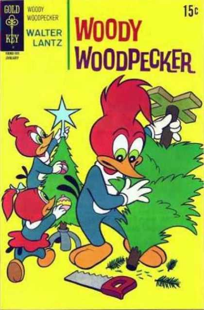 Woody Woodpecker 115 - Gold Key - Walter Lantz - Tree - Star - Saw