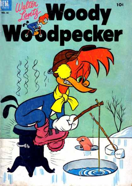 Woody Woodpecker 16 - Ice - Water - Fish - Fishing Polls - Snow
