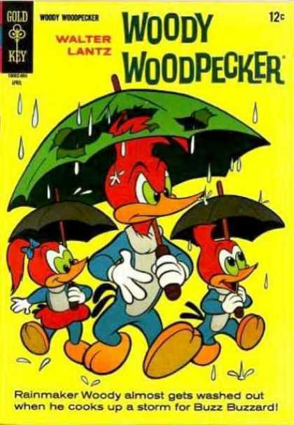 Woody Woodpecker 90 - Rain - Umbrellas - Yellow - Buzz Buzzard - Walking