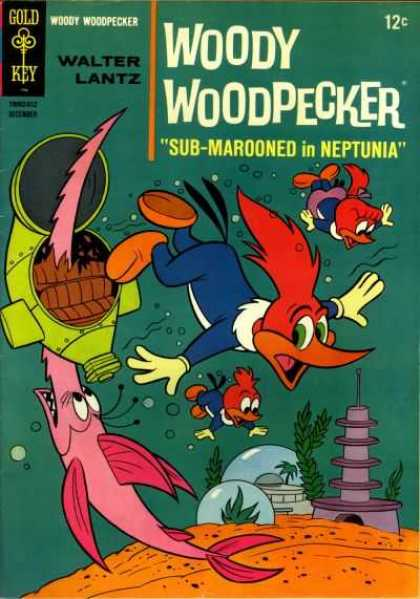 Woody Woodpecker 94 - Bird - Redhead - Beak - Underwater - Fish