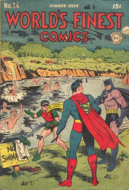 World's Finest 14 - Batman - Robin - Superman - No Swimming - Swimming Hole