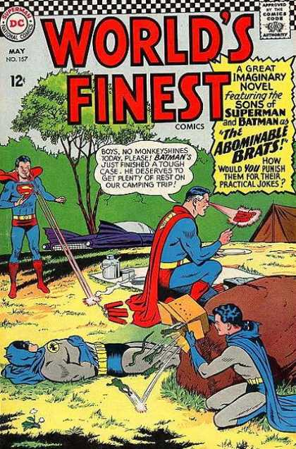 World's Finest 157 - Comics Code - Super-boy - Super-man - Batman - The Abominable Brats