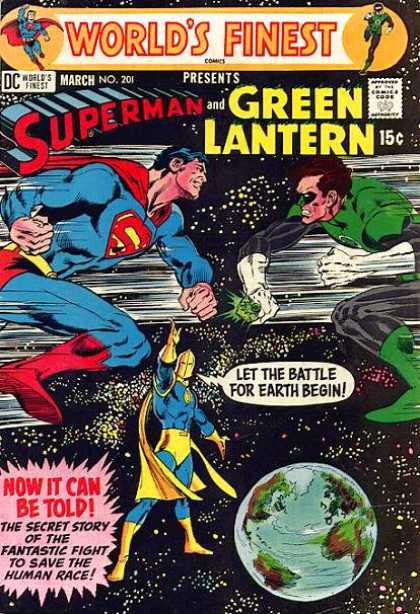 World's Finest 201 - Superman - Green Lantern - Battlle For Earth - Heroes - Fantastic Fight To Save The Human Race