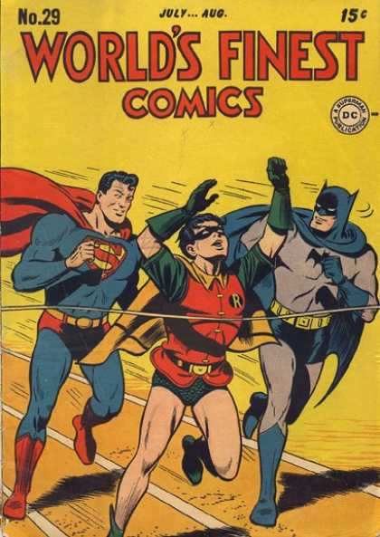 World's Finest 29 - Superman - Robin - Batman - Racing - Finish Line