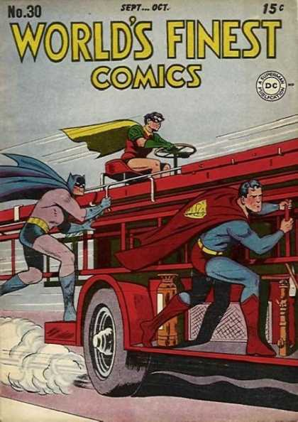 Batman, Robin, and Superman on a fire truck