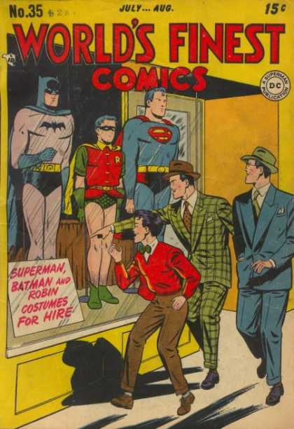 World's Finest 35 - Batman - Robin - Superman - Costumes - Window