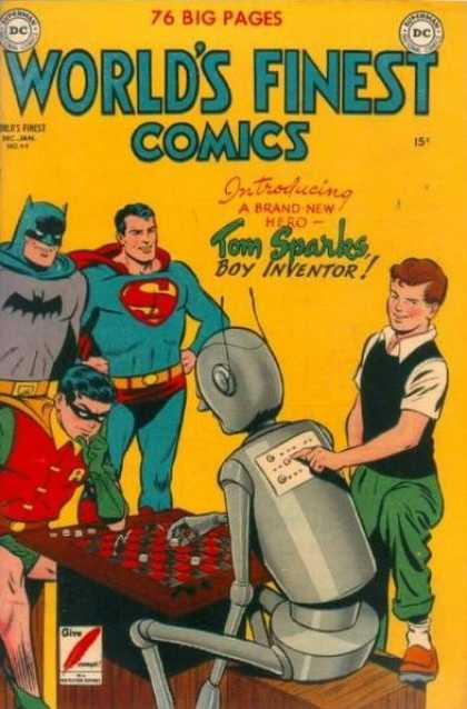 World's Finest 49 - Superman - Batman - Robin - Tom Sparks - Robot