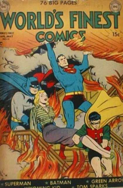 World's Finest 51 - Super Man - Batman - Robin - Girl - Ceiling