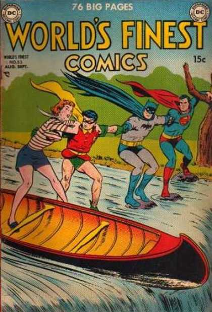 World's Finest 53 - Batman - Superman - Robin - Girl - Boat