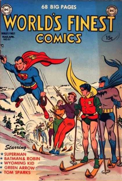 World's Finest 57 - 68 Big Pages - Superman - Winter - People - Snow