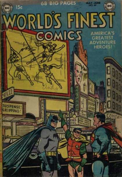 World's Finest 64 - Batman - Building - Superman - Street - Billboard