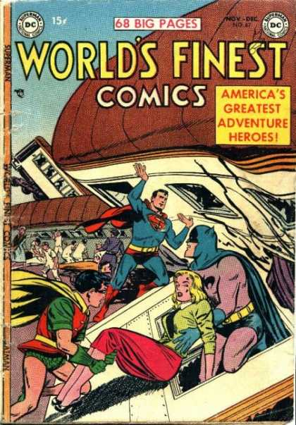 World's Finest 67 - Superman - Batman - Robin - Train - Red Skirt