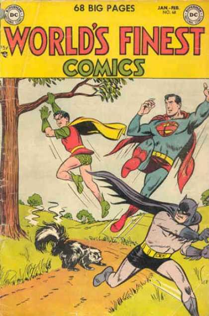 World's Finest 68 - Skunk - Batman - Superman - Robin - Tree