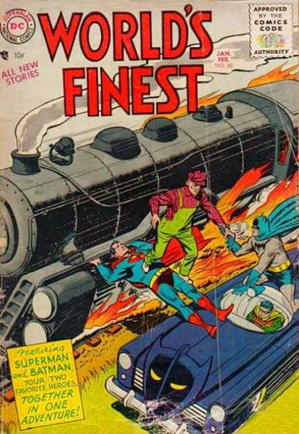 World's Finest 80 - Superman - Batman - Robin - Train - Fire