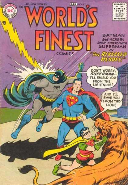 World's Finest 87 - Superman - Batman - Lion - Cape - Lightning