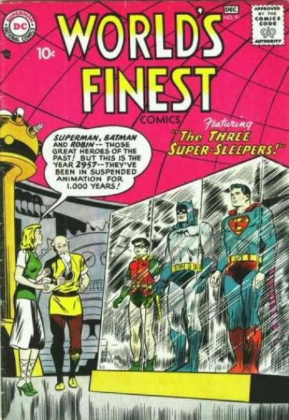 World's Finest 91 - Three Super Sleepers - Superman - Batman - Robin - Frozen