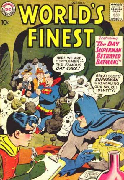 World's Finest 97 - The Day Superman Betrayed Batman - Robin - Photographers - Rocks - Batman