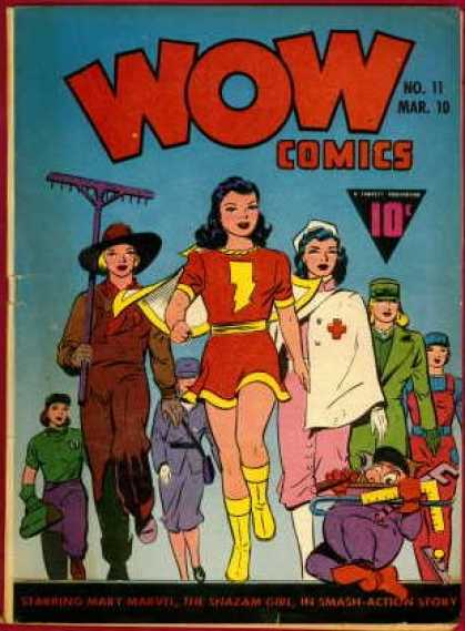 Wow Comics 11 - Women In Wartime - Superheroine - Woman Farmer - Nurse - Female Factory Worker